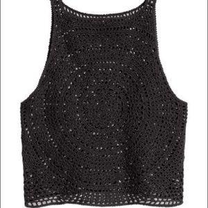 Coachella x H&M Black Crochet Lace Tank Top Small